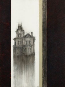 "WOODEN HOUSE 3 24"" X18"" mixed media $780"