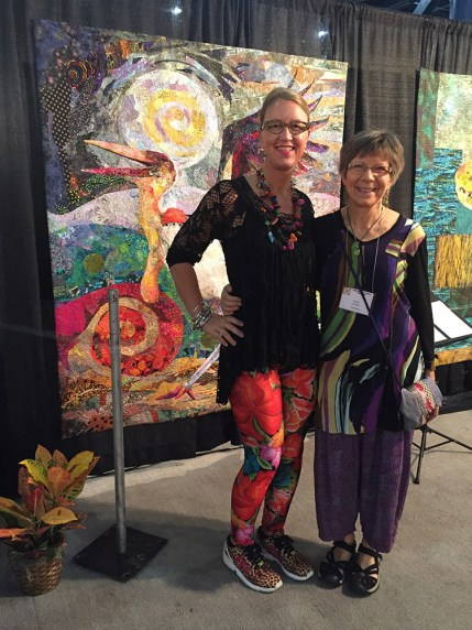 A past student, Christina Belding from Nova Scotia, stopped by to say hi. Christina had quilts accepted into other exhibits.