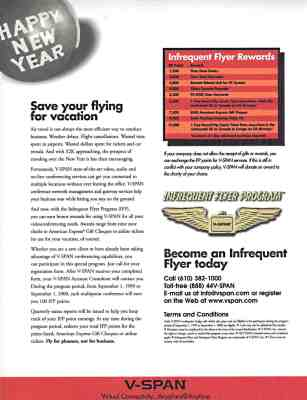 "V-Span ""Infrequent Flyer"" ad"