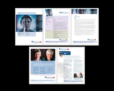 my role DESIGN + PRODUCTION agency CREATIVE NETWORK art director DAVERAL PRINS. diagnostic report submitted to patients. includes pocket folder, clinician reports, expert bios, literature reviews, cost anaylsis, among others. full report is approximately 25 pages. initially designed in quark, templates supplied to client in word. magazine ads, client stories and flyers as requested. flyers, stories and report templates produced in english and french. ads - publication dependent.