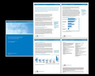 my role DESIGN + PRODUCTION. working directly with the Director of Wealth Planning Publications, we create quarterly reports (multi-page) with several detailed charts. the challenge is to keep the formatting clean, while keeping some visual interest, as the reports are copy heavy. the other challenge is to use the applications (ie: chart bars in illustrator, chart copy in indesign) efficiently so they can be formatted quickly - but also modified for the french and US versions. produced in english and french. 2 US versions are also produced (wealth management and global asset management lines of business.) the project also includes (generally) single page toolkits for internal clients (sales).