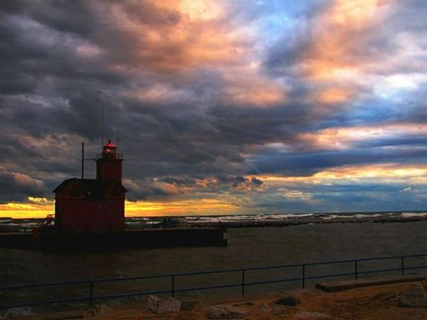 Big Red Lighthouse and colorful sky