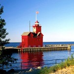 Big Red Lighthouse on Lake MI