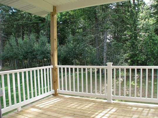 Covered backyard deck.