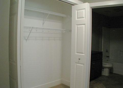 Lower level double door closet with hanging storage.