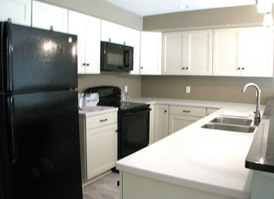 2447 Nuttall Court-Kitchen in lower level-flat surface electric stove and built-in microwave