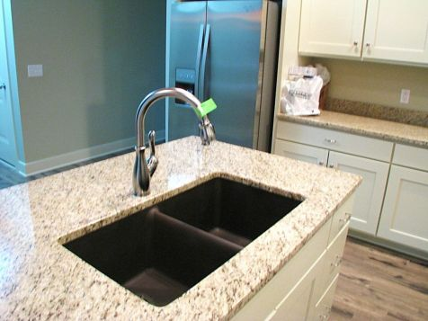 Center island with double sink & high rise faucet