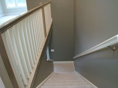 Carpeted spen stairway to lower level
