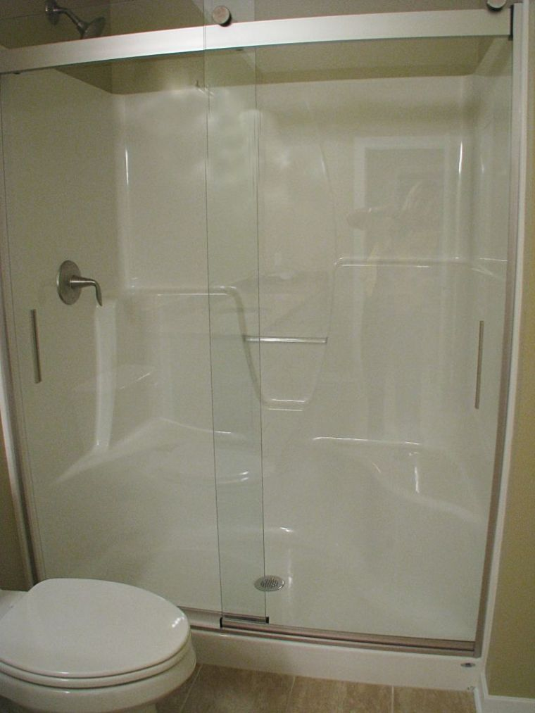 Spacious walk-in shower in master bath.