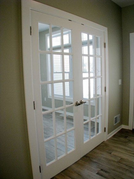 Glass panel French doors to flex room