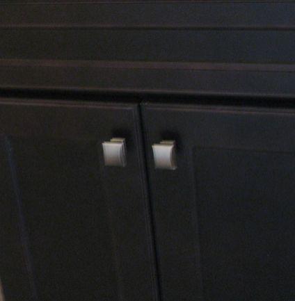 Vanity on half bath - brushed nickel door pulls