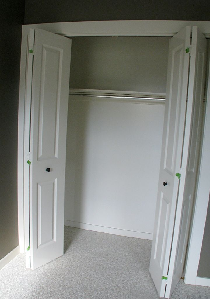 View of inside of closet in lower level bedroom.