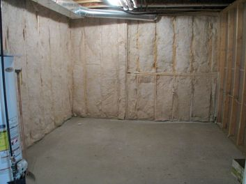 Insulated unfinished storage room in lower level.