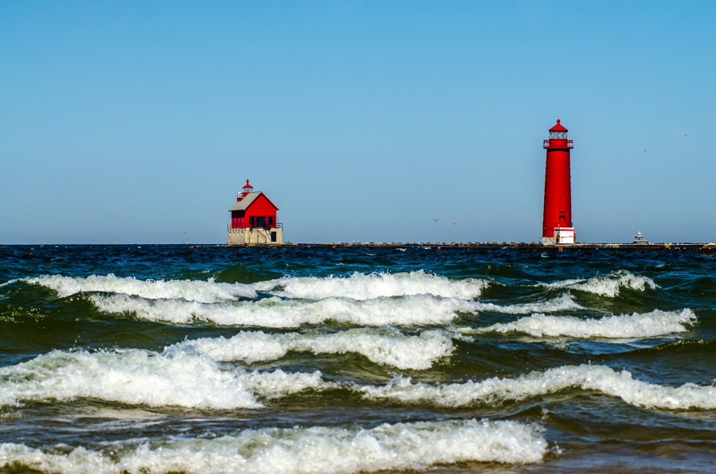 Grand Haven MI red lighthouse Lake Michigan