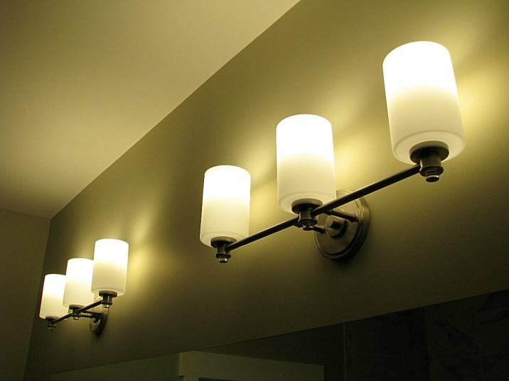 Lights over bathroom vanity