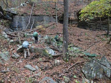 Negotiating a rocky hollow