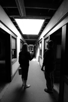 Julie and Frank Roberds inspecting the construction underway in the McBrayer Building
