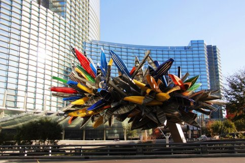 Canoe sculpure outside of the Aria / Vdara intrance