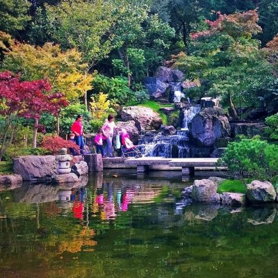 Crossing the pond in Kyoto Gardens, Holland Park