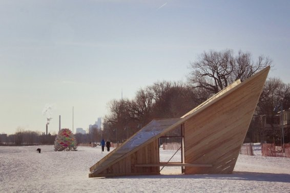 Toronto Beaches Warming Stations: Driftwood Throne & Snow Cone