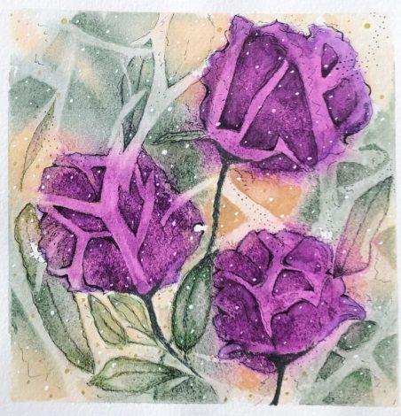 Original abstract watercolor floral