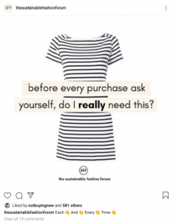 "Wardrobe minimalism Image with words ""before every purchase, ask yourself, do I really need this?"""