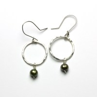 Green Pearl Earrings Women Ear Stud Orchid Flower Green