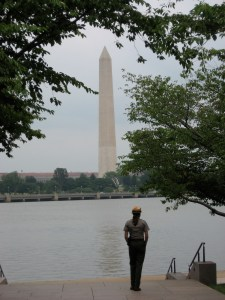 National park ranger looking at Washington Monument