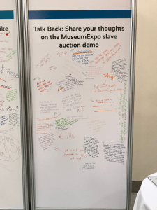 Picture of the comment board that appeared at the conference