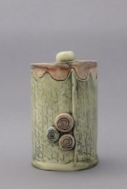 Yellow Letter Treasure Jar, porcelain