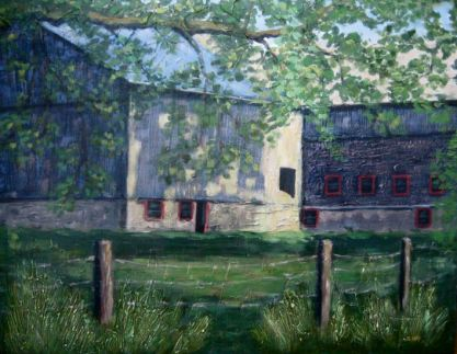 """Barns in Sun and Shadow, Acrylic on textured canvas, 22"""" x 28"""", 2009 SOLD"""