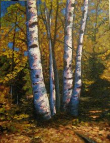 """Birch clump in Autumn, acrylic on texturized canvas, 40"""" x 30"""", 2011 SOLD"""