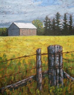 """Farm Scene, acrylic on texturized canvas, 22"""" x 28"""", 2009 SOLD"""