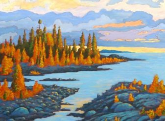 """Dorcas Bay Sunset, acrylic on canvas, 30"""" x 40"""" SOLD"""