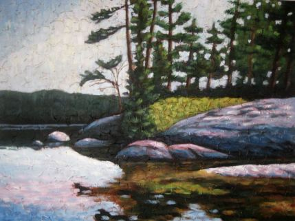 "Haliburton Reflections 6, Acrylic on textured canvas, 30"" x 40"", 2009"