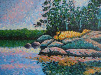 "Haliburton Reflections, acrylic on canvas, 30"" x 40"", 2008"
