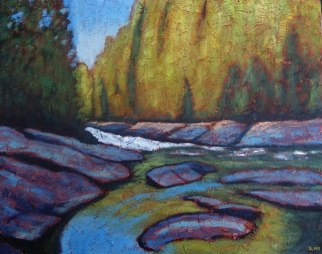 "Ritchie Falls 2, 24"" x 30"", acrylic on texturized canvas, 2011"