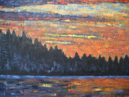 "Haliburton Sunset, acrylic on canvas, 30"" x 40"", 2008 SOLD"