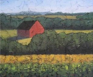 """Red Barn, 16"""" x 20"""", acrylic on texturized canvas, 2011"""