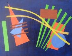"""Kandinski pastiche project, acrylic on masonite, 10"""" x 12"""", 2011"""