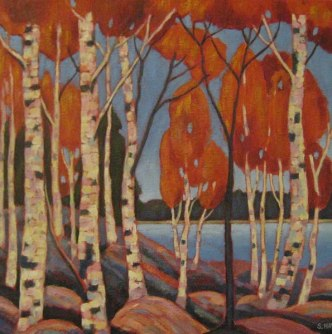 """Landscape Birches, acrylic on texturized canvas, 18"""" x 18"""", SOLD"""