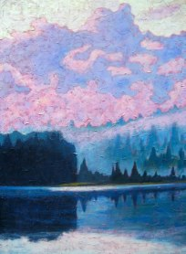 "North Shore Guilford Lake after the rain, acrylic on texturized canvas, 40"" x 30"", 2012 SOLD"