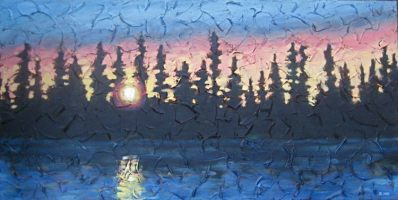 "Northern Sunset, acrylic on texturized canvas, 18"" x 36"", 2009"