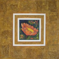 """Orange Poppy, collaged frame; acrylic on texturized canvas, collaged fabrics and papers, 30"""" x 30"""", 2011"""