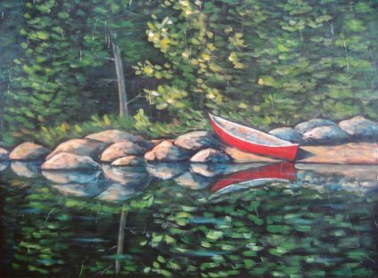 "Paddler's Paradise 2, acrylic on canvas, 30"" x 40"", 2008 SOLD"