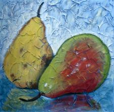 "Pair of Pears 2, Acrylic on canvas, 16"" x 16"", 2009"