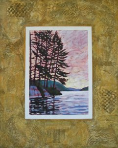 "Pine Point; acrylic on texturized canvas, collaged papers, fabrics, leaves, 24"" x 30"", 2011 SOLD"