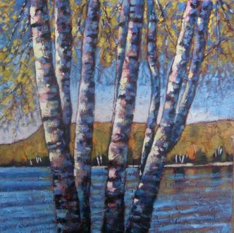 """Looking out over Portage Lake in Autumn, acrylic on texturized canvas, 30 x 30"""" SOLD"""