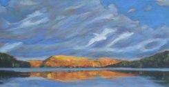"Portage Lake in autumn, acrylic on canvas, 24 x 48"""
