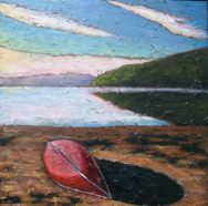 "Red Canoe, acrylic on texturized canvas, 30"" x 30"", 2009"